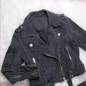 BLANK NYC GREY SUEDE LEATHER MOTO JACKET S NEW